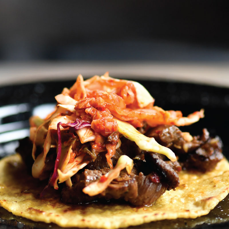 Korean Bbq Beef Taco Rojo Gusano Mexican Restaurant And